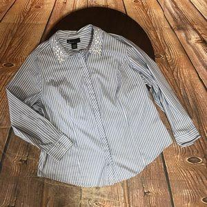 Lane Bryant 20 Beaded Collar Stripe Blue blouse
